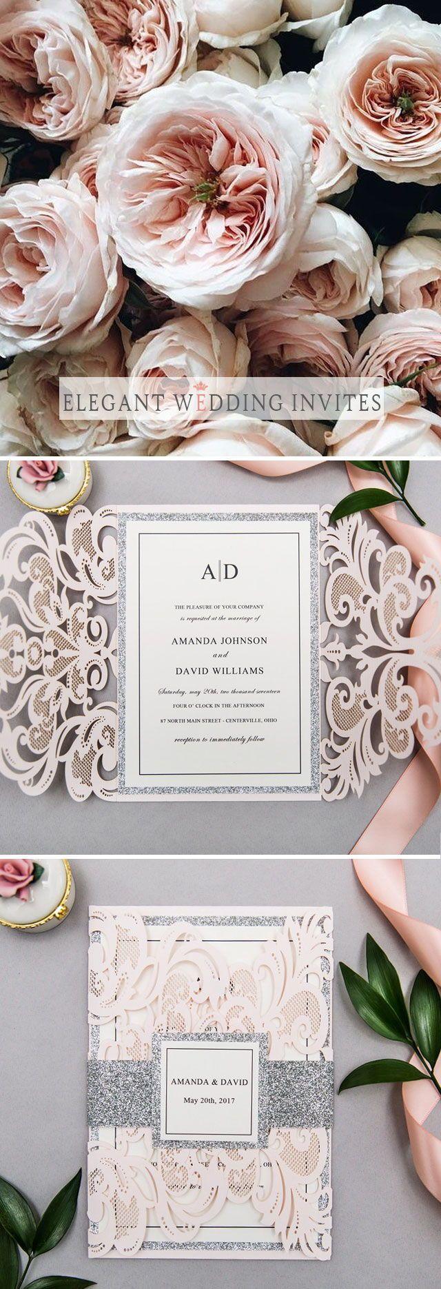 elegant upscale blush and silver glittery laser cut wedding ...
