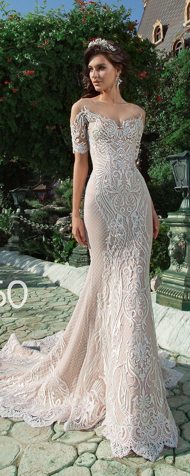 Off shoulder long sleeve wedding dress sexy mermaid backless lace