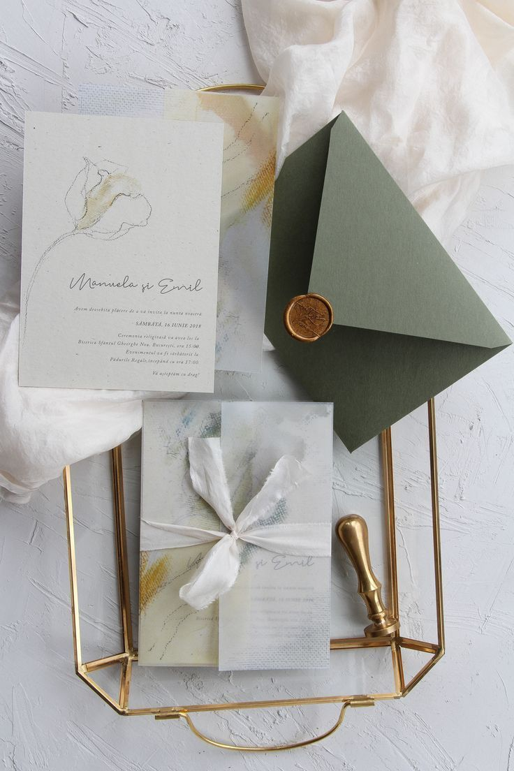Minimalist wedding invitations, vellum wrapping paper, plant dyed ...