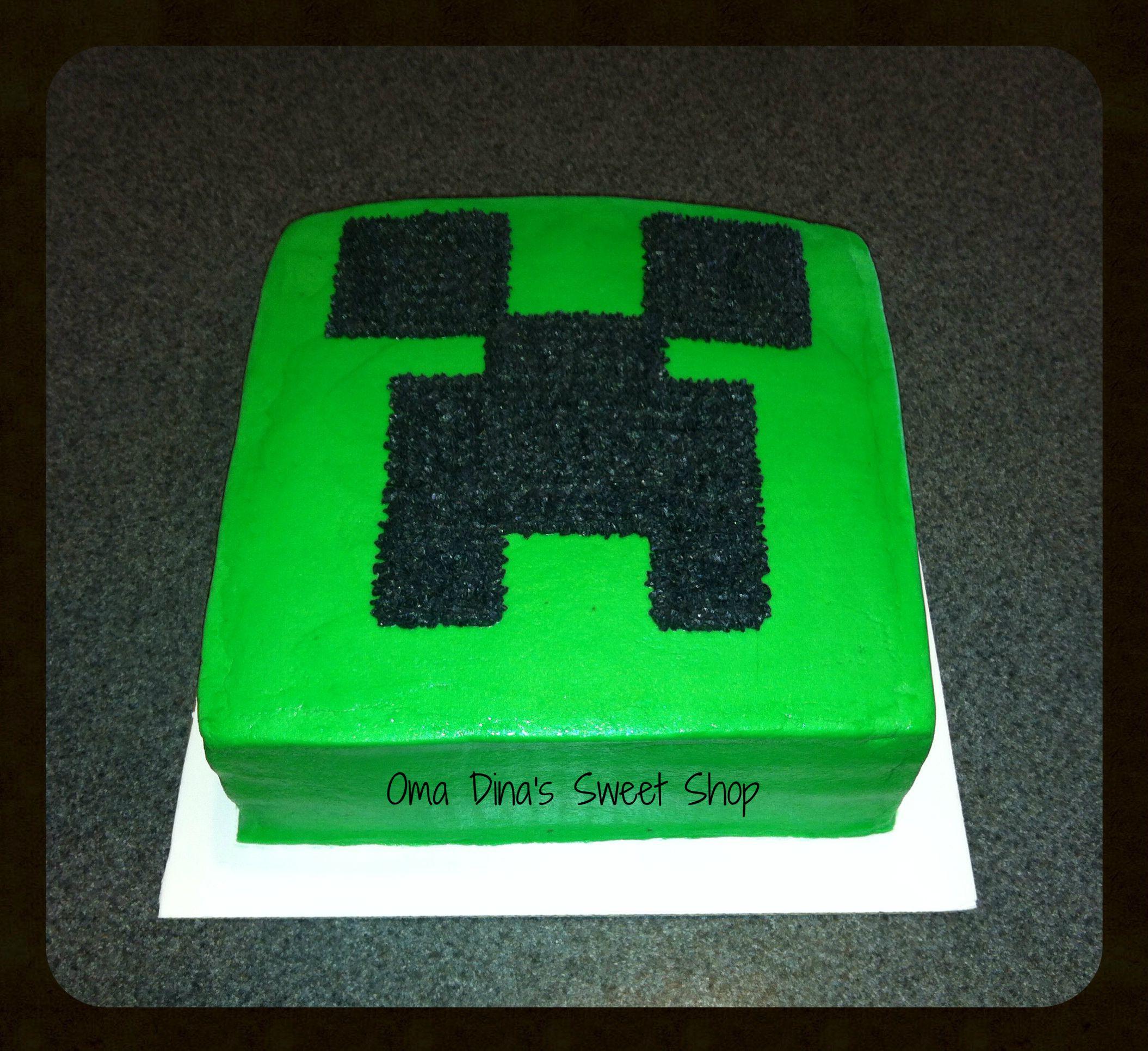 Minecraft Creeper Face Cake Creeper Cake Cupcake Cakes Cake
