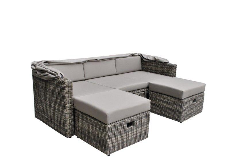 Rattan Loungemöbel Gartensofa Hannover 3 5 Sitzer Inkl. Sonnenverdeck    Farbe: Grau