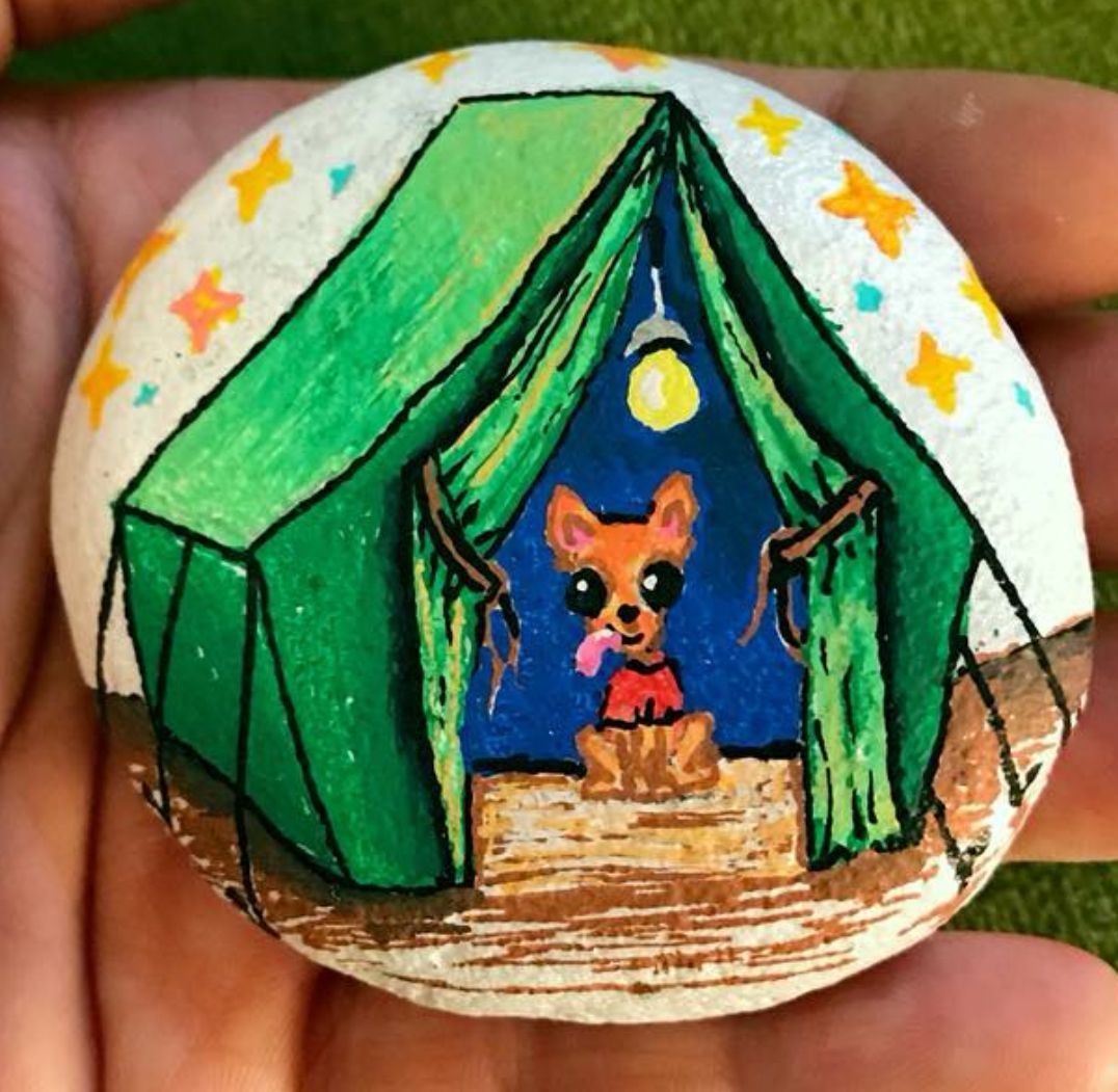 Puppy Chihuahua In A Green Tent Painted Rock With Images