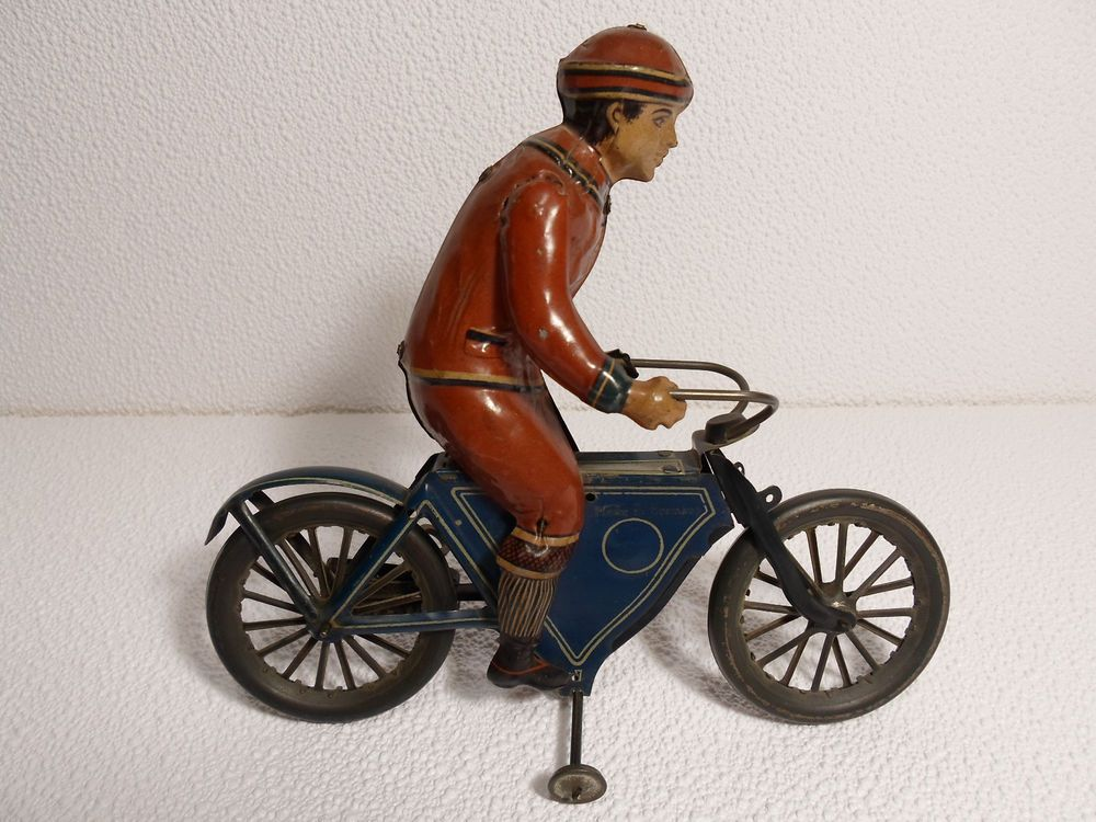 Antique Tin Windup Toy Man on Motorcycle 1910 Fischer or