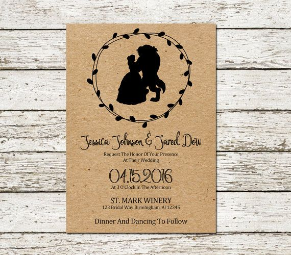 Beauty And The Beast Wedding Invitation Kraft Paper Printable