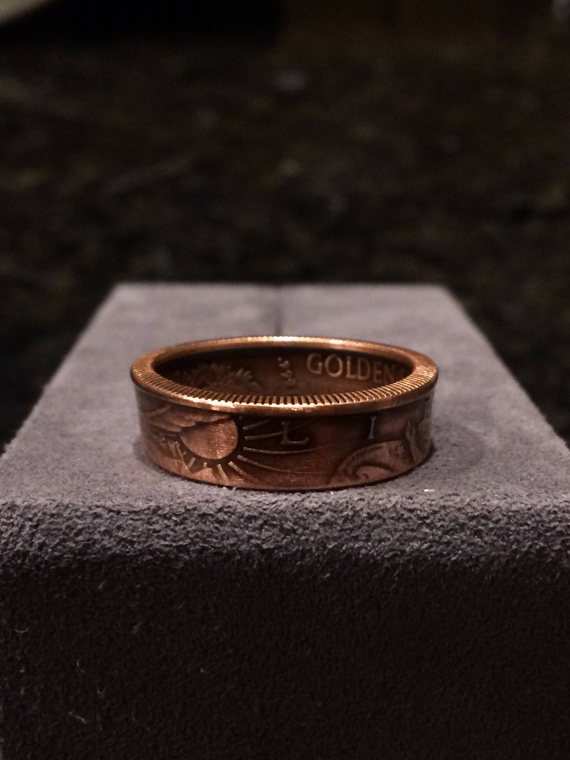 Walking Liberty Etsy Copper Coins Coin Ring Rings For Men