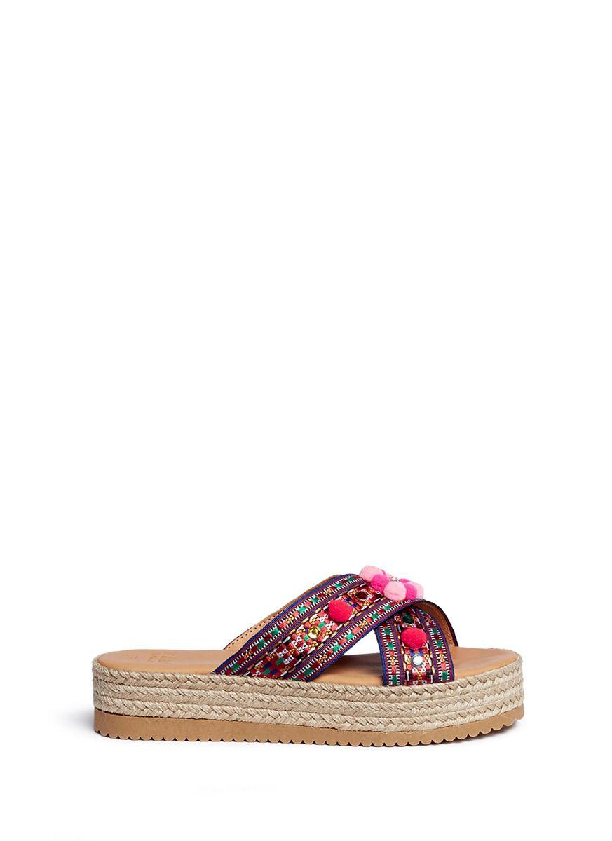 0f1a3031c827 MABU BY MARIA BK  Violette  Tribal Embroidered Espadrille Platform Slide  Sandals.  mabubymariabk  shoes  sandals