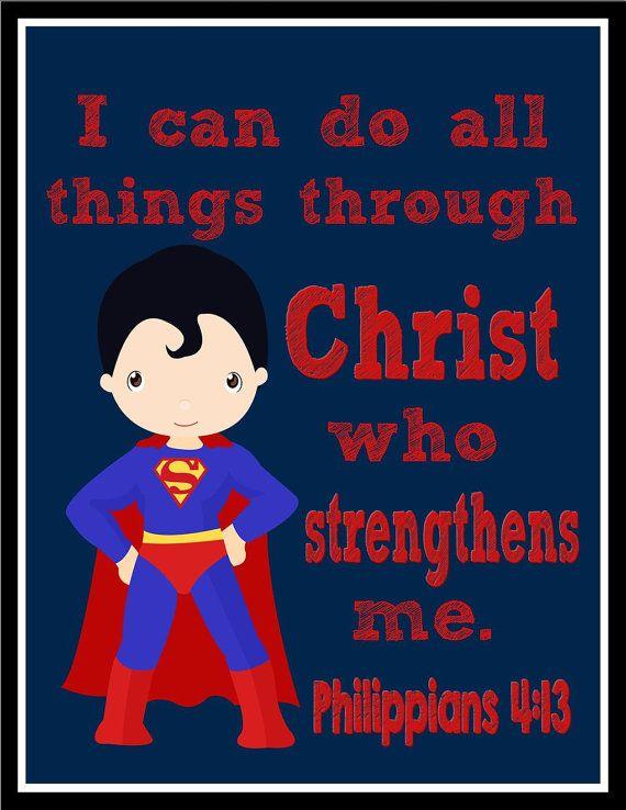 I Can Do All Things Through Christ Who Strengthens Me Philippians 4:13 Supergirl Superhero Inspirational Nursery Decor Art Print