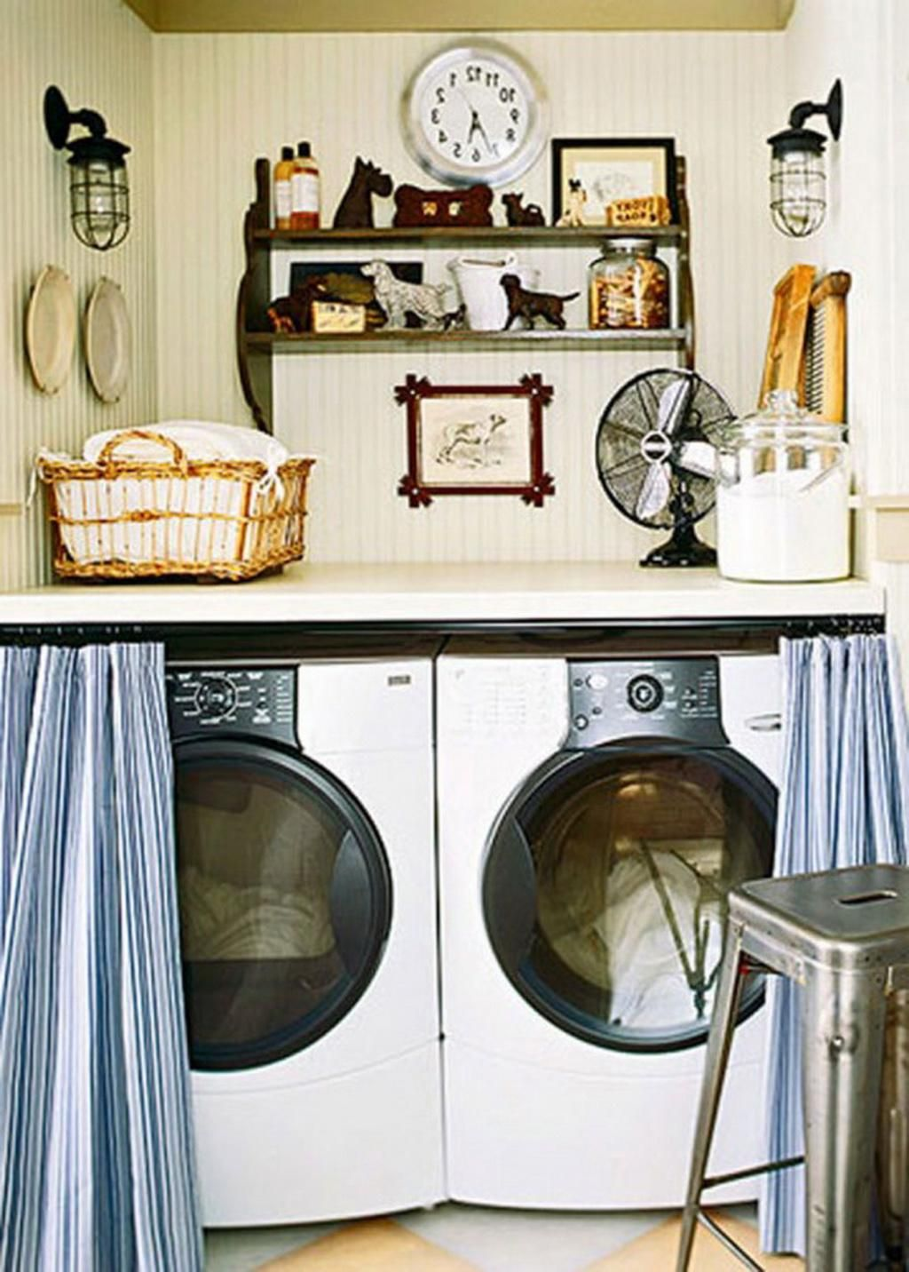 Adorable Blue Laundry Room Curtain Design Beside Washing Machine