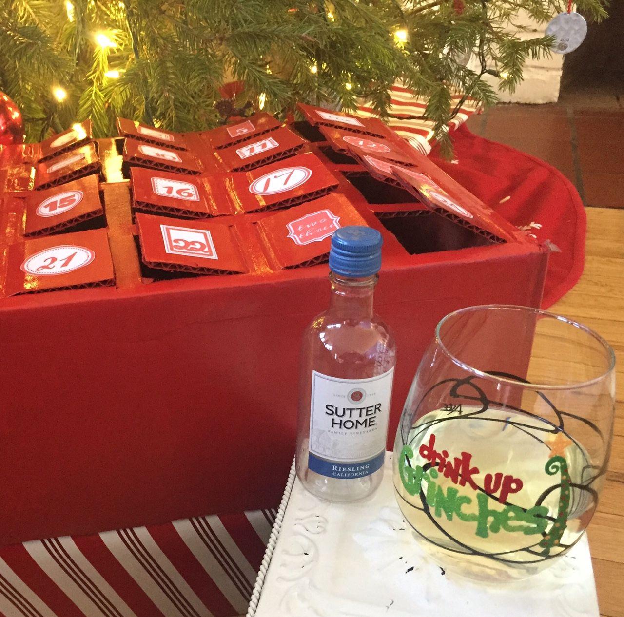 Diy Wine Advent Calendar Box With Festive Amanda Lee Glassware Glass Wine Advent Calendar Advent Calendar Boxes Diy Wine