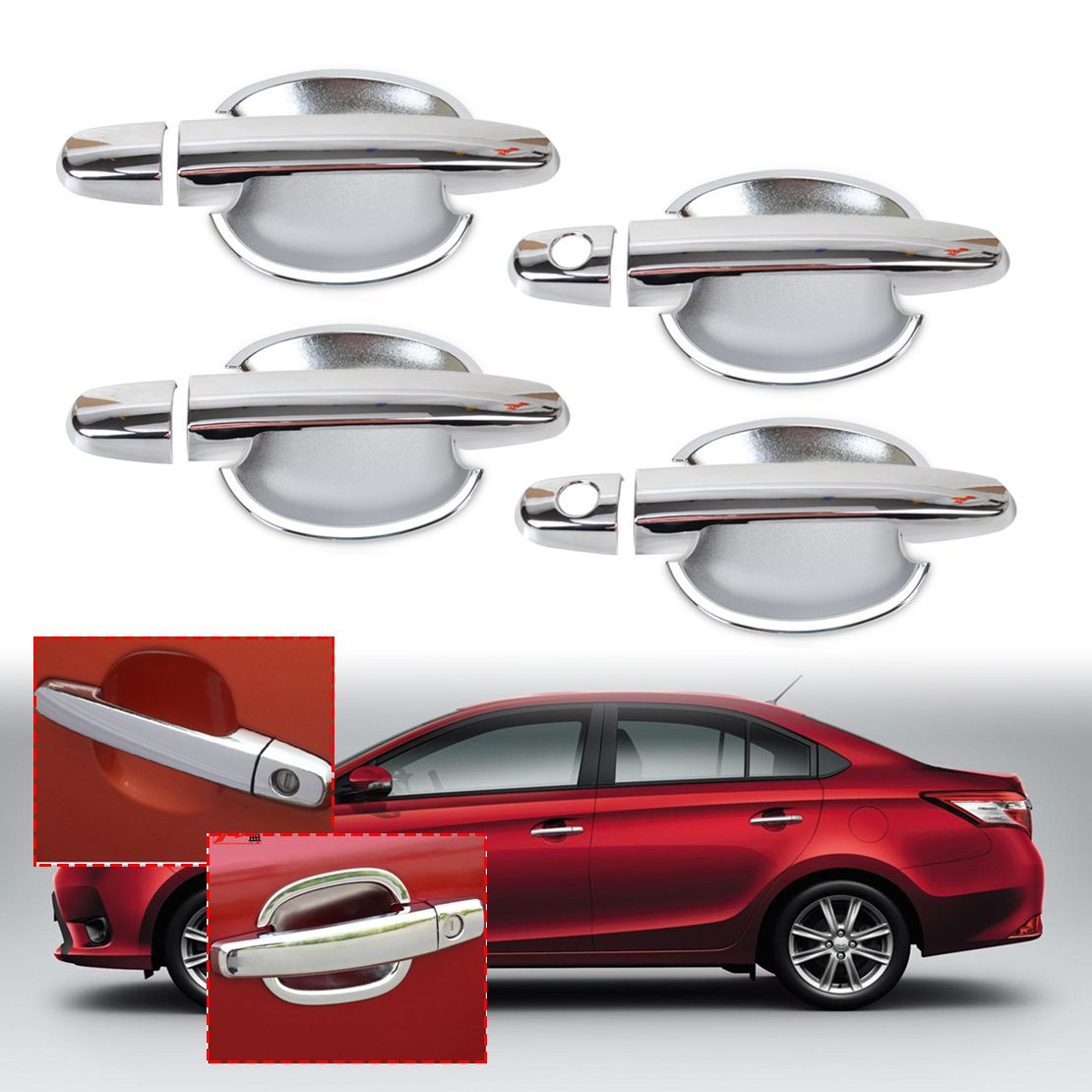 Chrome 8pcs Door Handle Cover W Smart Key 4pcs Cup Bowl Combo For Pelindung Motor Toyota