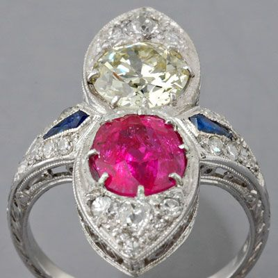 Antique Art Deco Ruby and 1.00ct European-cut Diamond Ring