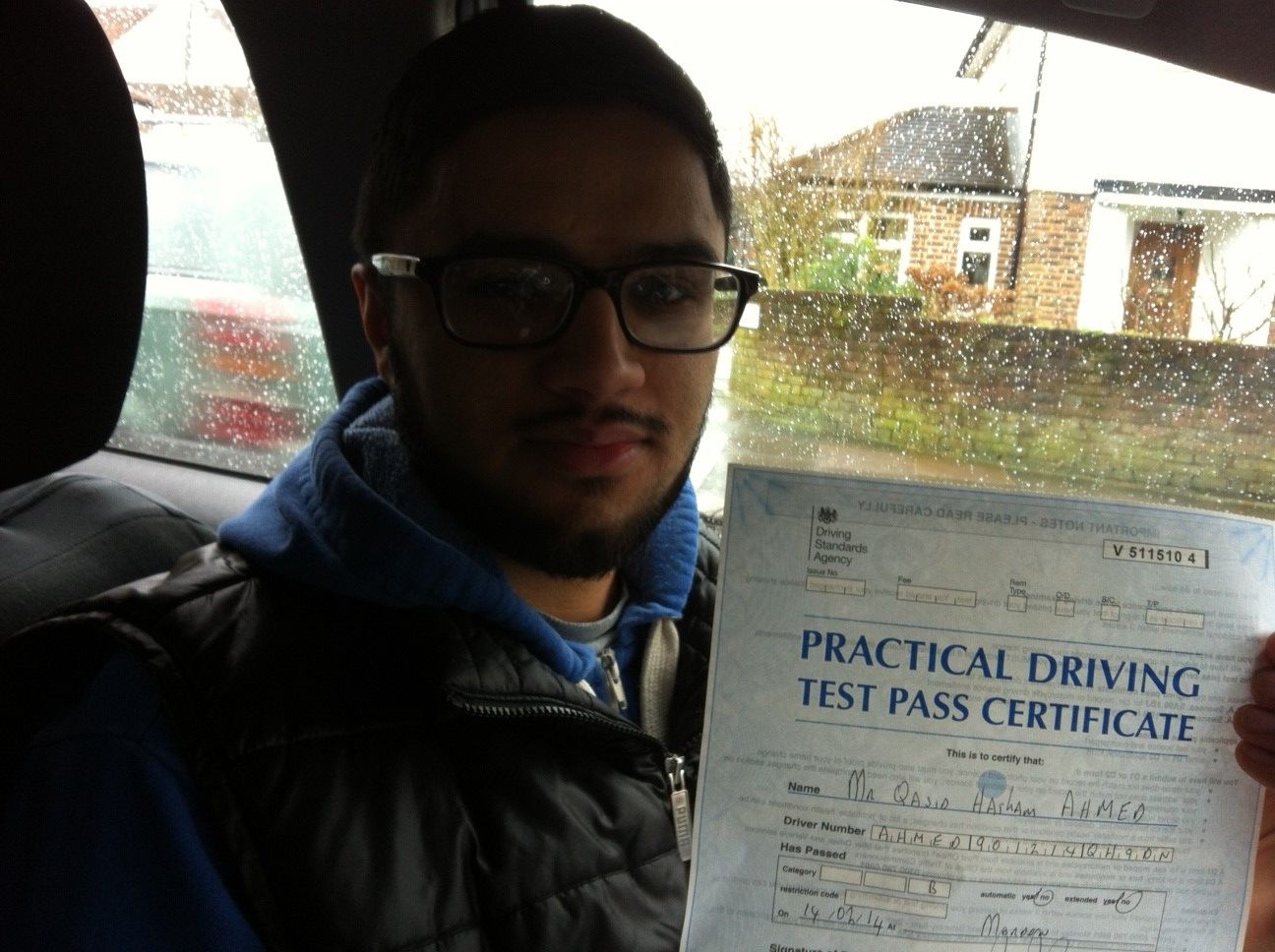 Well done to Qasid Ahmed from Earlsfield who passed his test on Friday 14th February at Morden test centre.