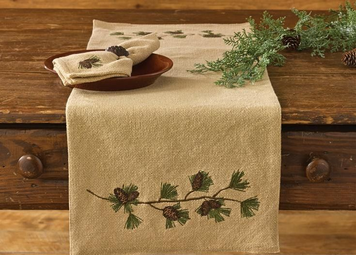 Burlap And Pine 36 Inch Table Runner Pine Cone Table Runner Christmas Table Runner Burlap