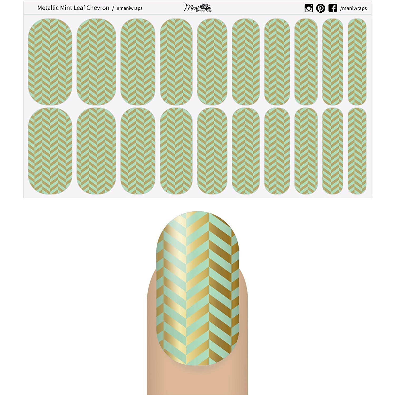 Mani Wraps Salon Quality Nail Wraps äóñ Metallic Mint (Metallic Gold and Mint Green Leaf Chevron Pattern) >>> To view further for this item, visit the image link.