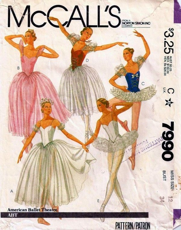 McCall\'s 7990 A | nähen-schnittmuster | Pinterest | Ballett, Kostüm ...