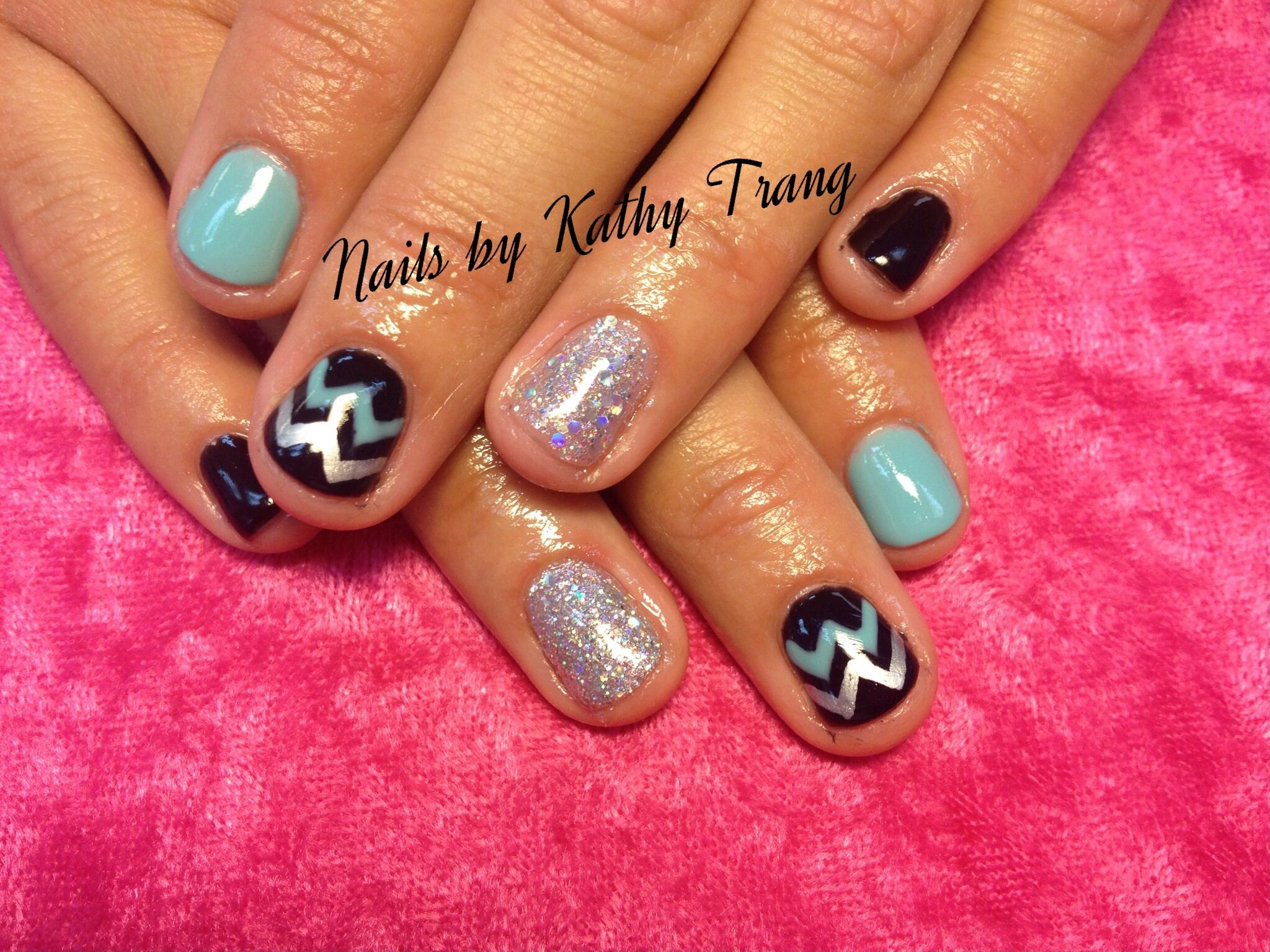 black and teal silver chevron