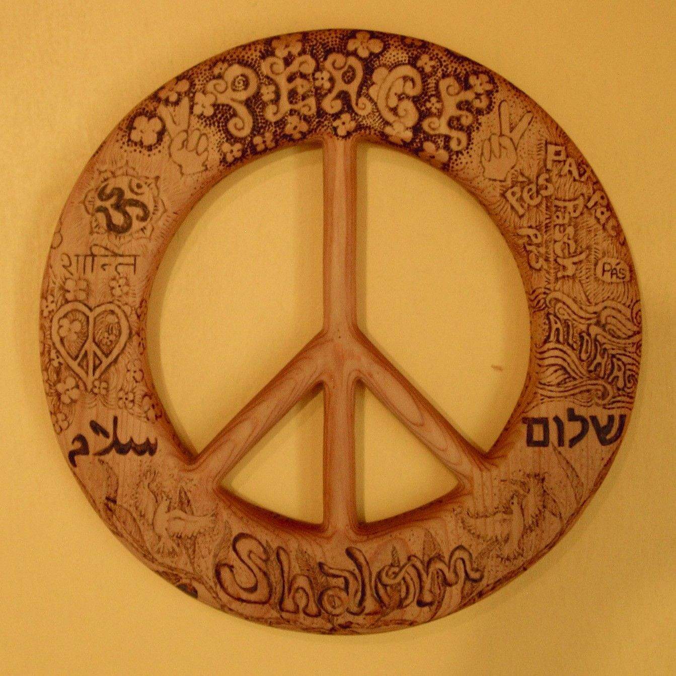 Words Of Peace Wood Burned Peace Sign Peace In Many Languages