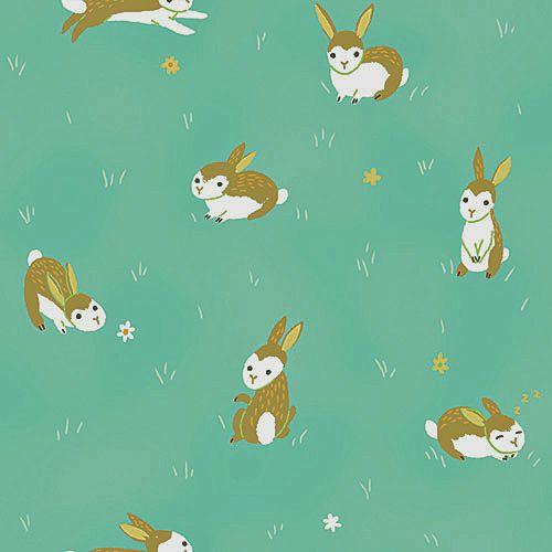 Critter Patch Organic Cotton Fabric By Designer Alyssa Thomas Penguin And Fish Cute Brown Bunnies On Aqua Blue Grass Organic Cotton Fabric Fabric Aqua Blue