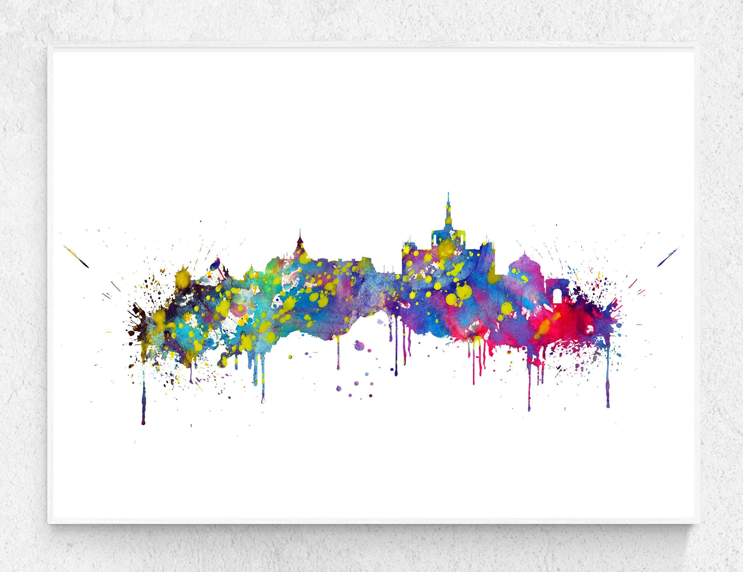 Bucharest Skyline Home Decoration Watercolor Print Wall Art