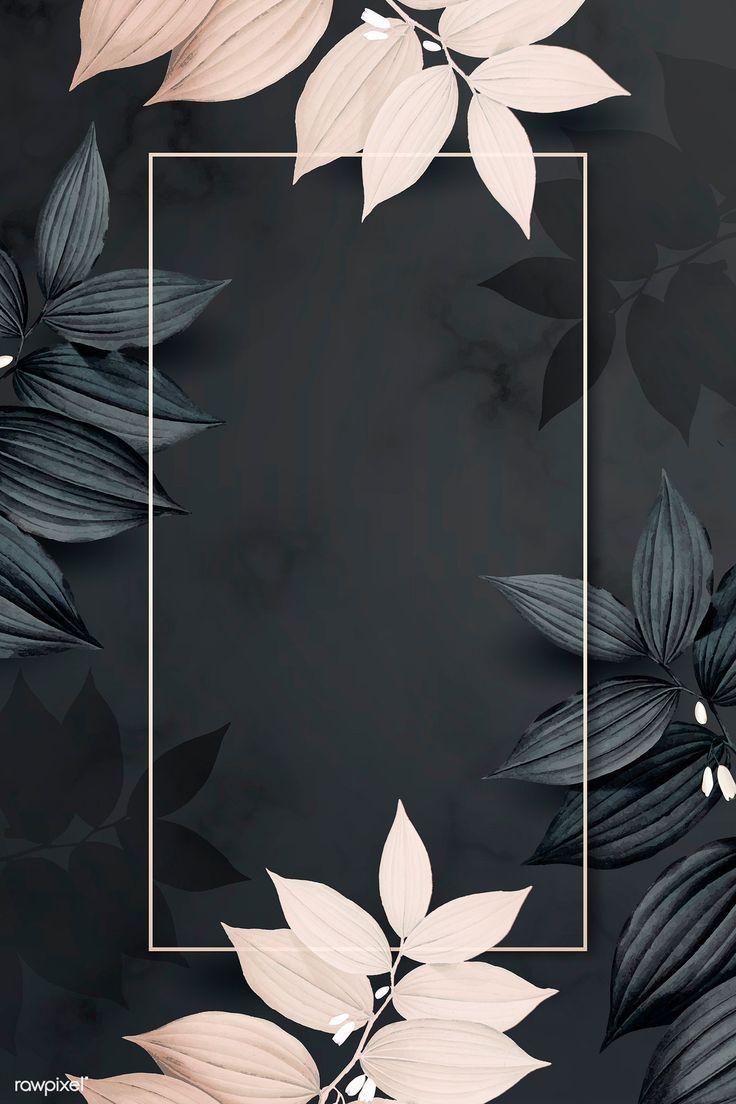 Download Premium Illustration Of Rectangle Golden Foliage Frame On Black Iphone Https Li Framed Wallpaper Phone Wallpaper Images Flower Background Wallpaper