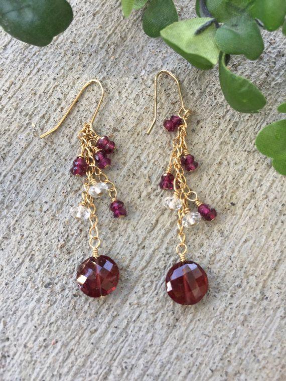 Garnets white topaz chandelier earrings in gold filled wire garnets white topaz chandelier earrings in gold filled wire mozeypictures Gallery