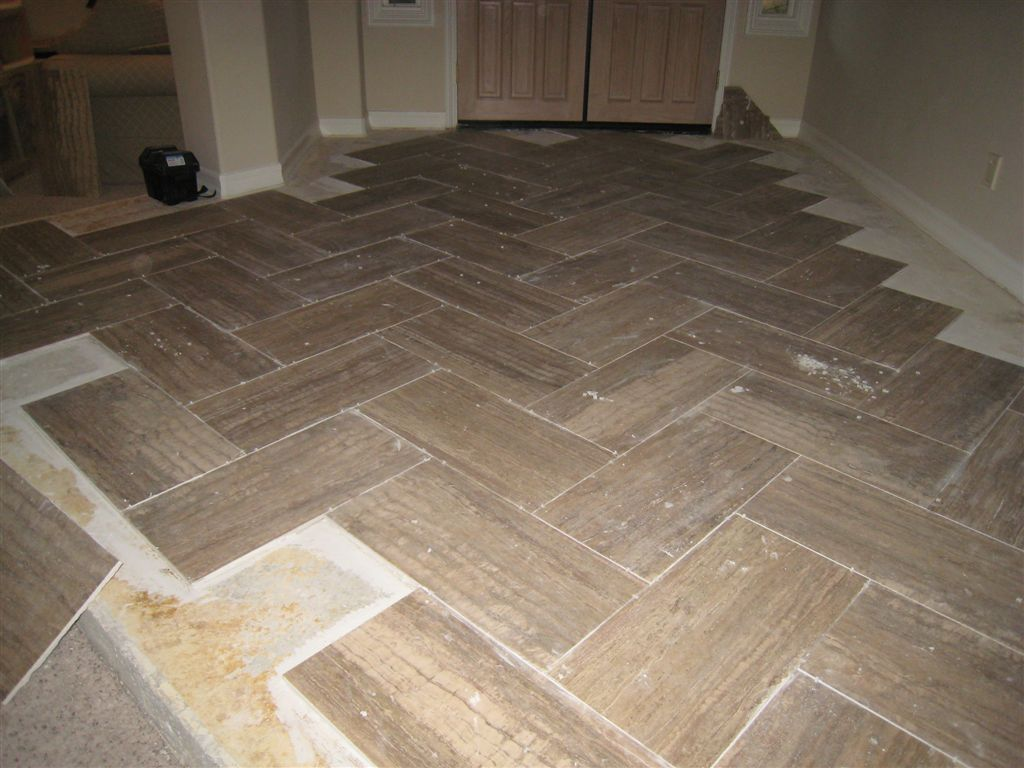 Walker Zanger Prado Travertine Herringbone Pattern