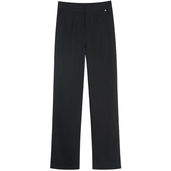 HIDE AND SEEKBlack Straight Leg Pants | MIXXMIX ($40) ❤ liked on Polyvore featuring pants, sports pants, straight leg trousers, silver pants, sport pants and straight leg pants