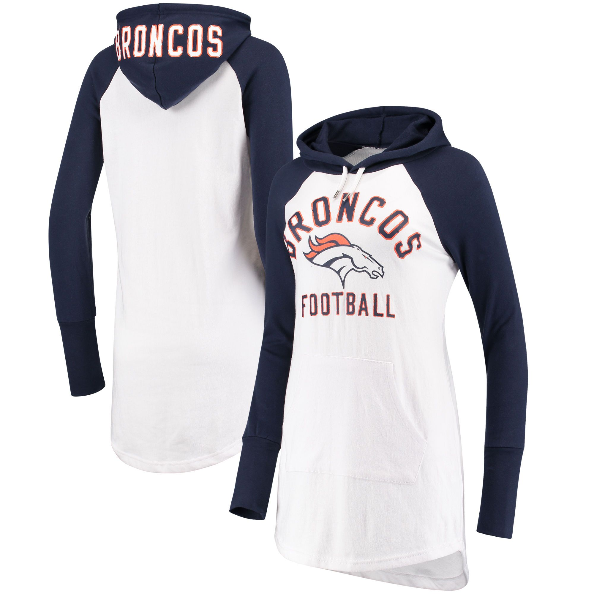 8210998e194c Women's G-III 4Her by Carl Banks White/Navy Denver Broncos All Division  Raglan Sleeve Pullover Hoodie