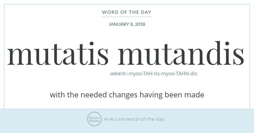 Word Of The Day Mutatis Mutandis Writing Words Word Of The Day