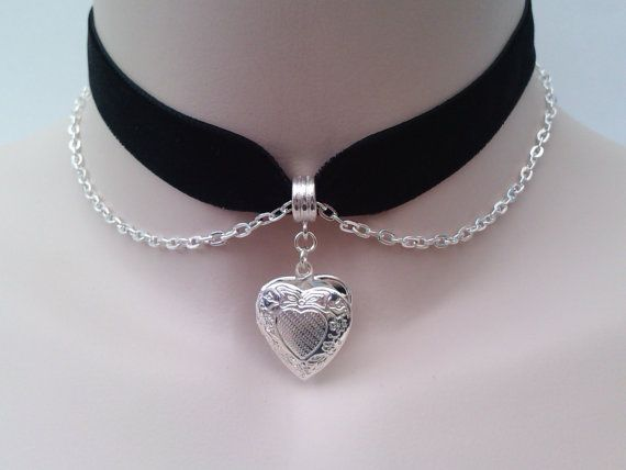 Silver Plated Opening HEART LOCKET With Belcher Chain on BLACK (or choose another colour) 16mm Velvet Ribbon Choker by TwirlyTrinkets