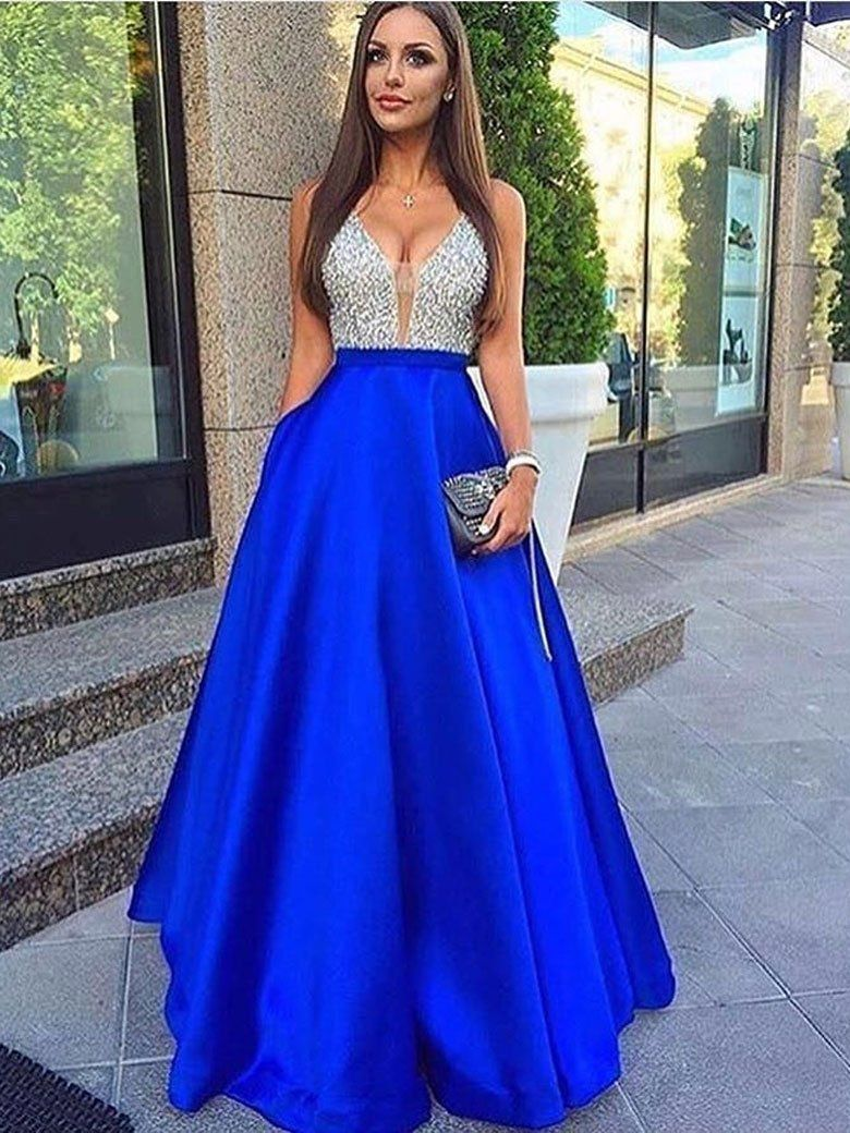 Aline vneck beaded bodice royal blue long prom dresses with pocket