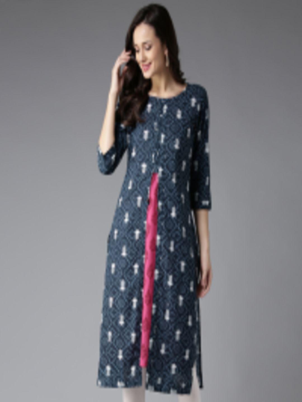 2ab636166e3 Buy HERE NOW Women Navy Blue Printed Layered Straight Kurta - Kurtas for  Women 1990024