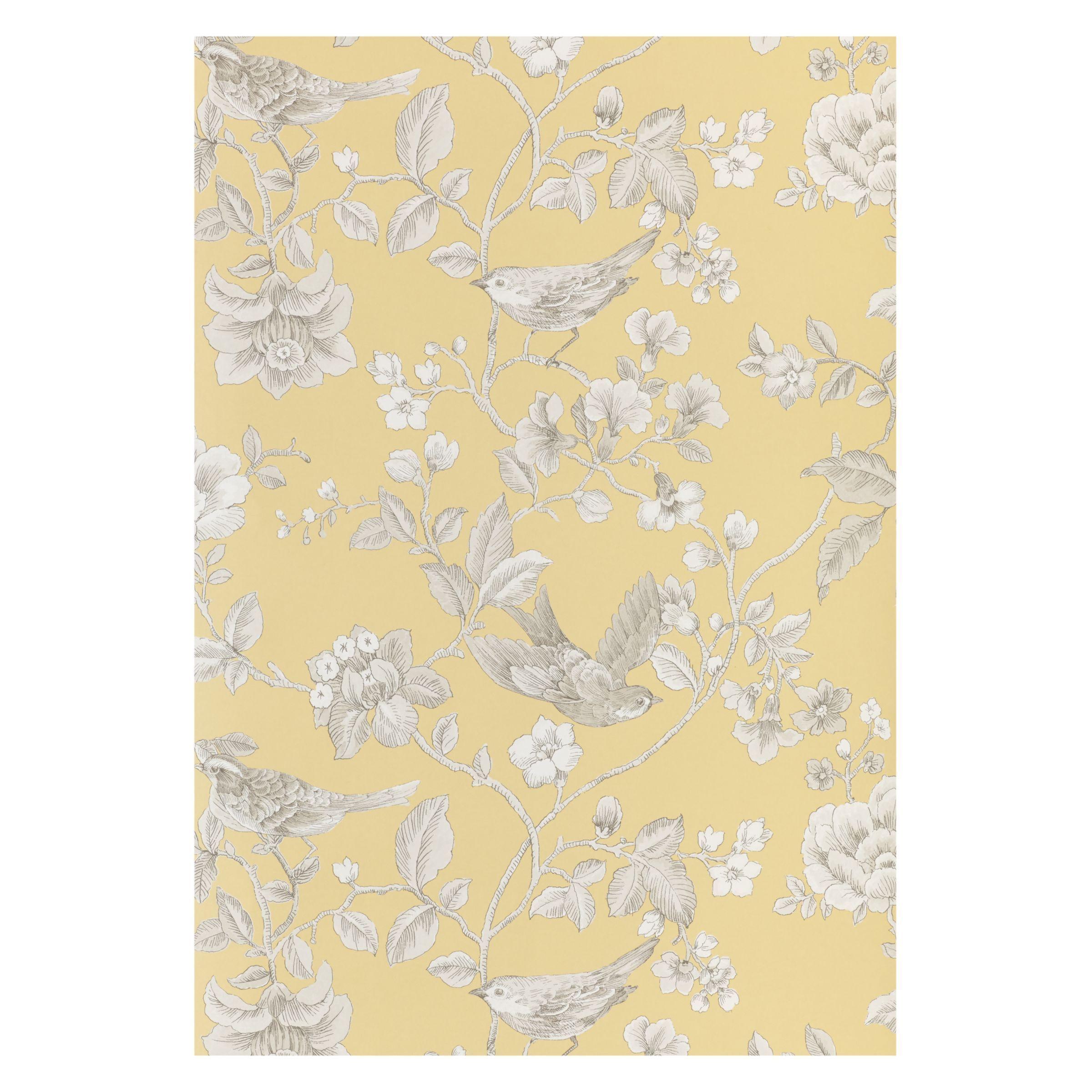 John Lewis & Partners Nightingales Wallpaper Mustard