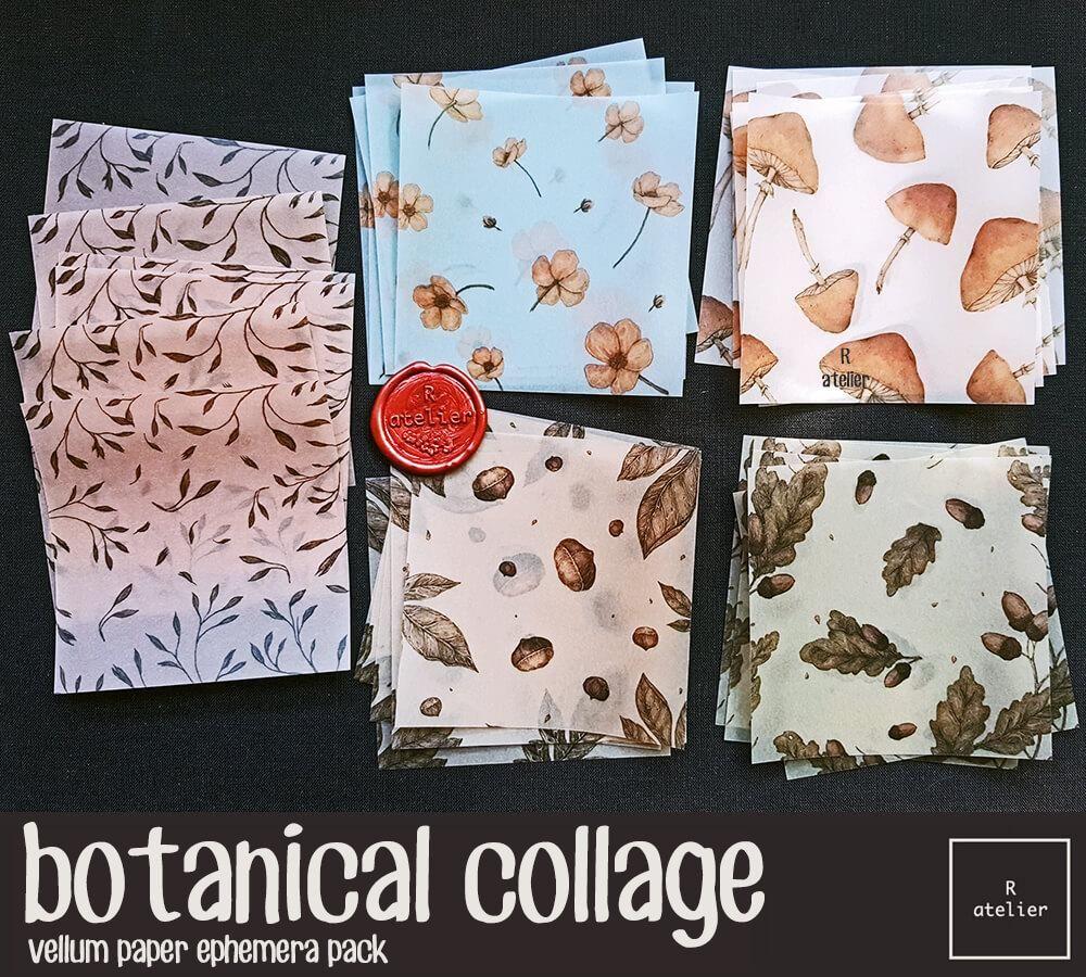Botanical Collage Vellum Paper Ephemera Vellum Paper Ephemera Paper