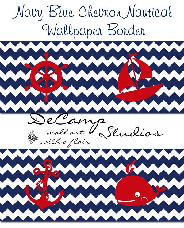 NAUTICAL WALLPAPER BORDER Chevron Navy Blue Wall by
