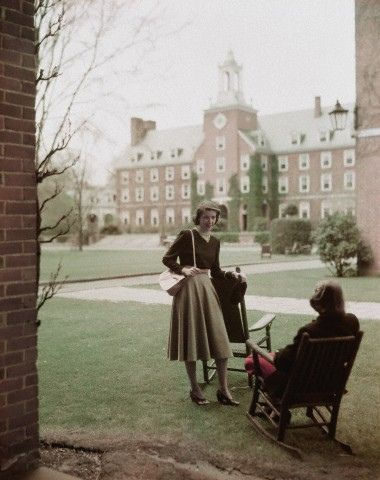 Smith College on campus, 1940s