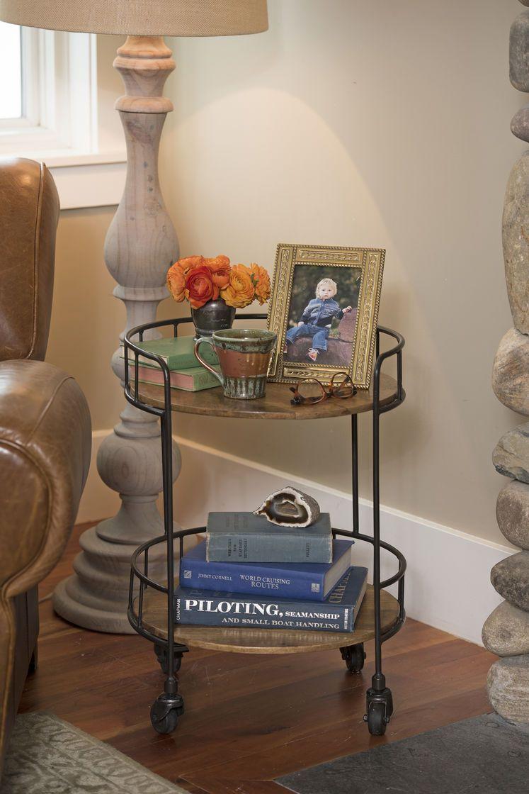 Great Rustic Side Table: Astoria Rolling Accent Table   Industrial Vibe