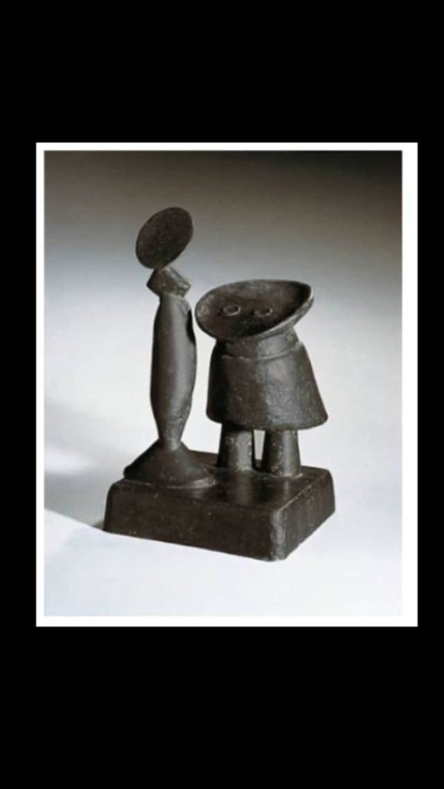 """Max Ernst - """" Fille et mère """", conceived in 1959 - Bronze with black patina - h: 46 x w: 26,5 x d: 28,5 cm (*)"""