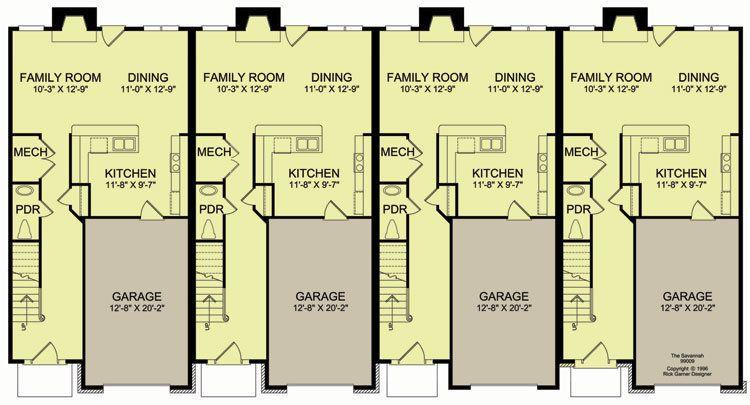 4-plex #3 main floor *** | Apartment/House Plan Ideas | Pinterest ...