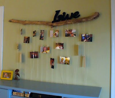 creative way to hang pictures driftwood things i make in 2019 picture wall living room. Black Bedroom Furniture Sets. Home Design Ideas