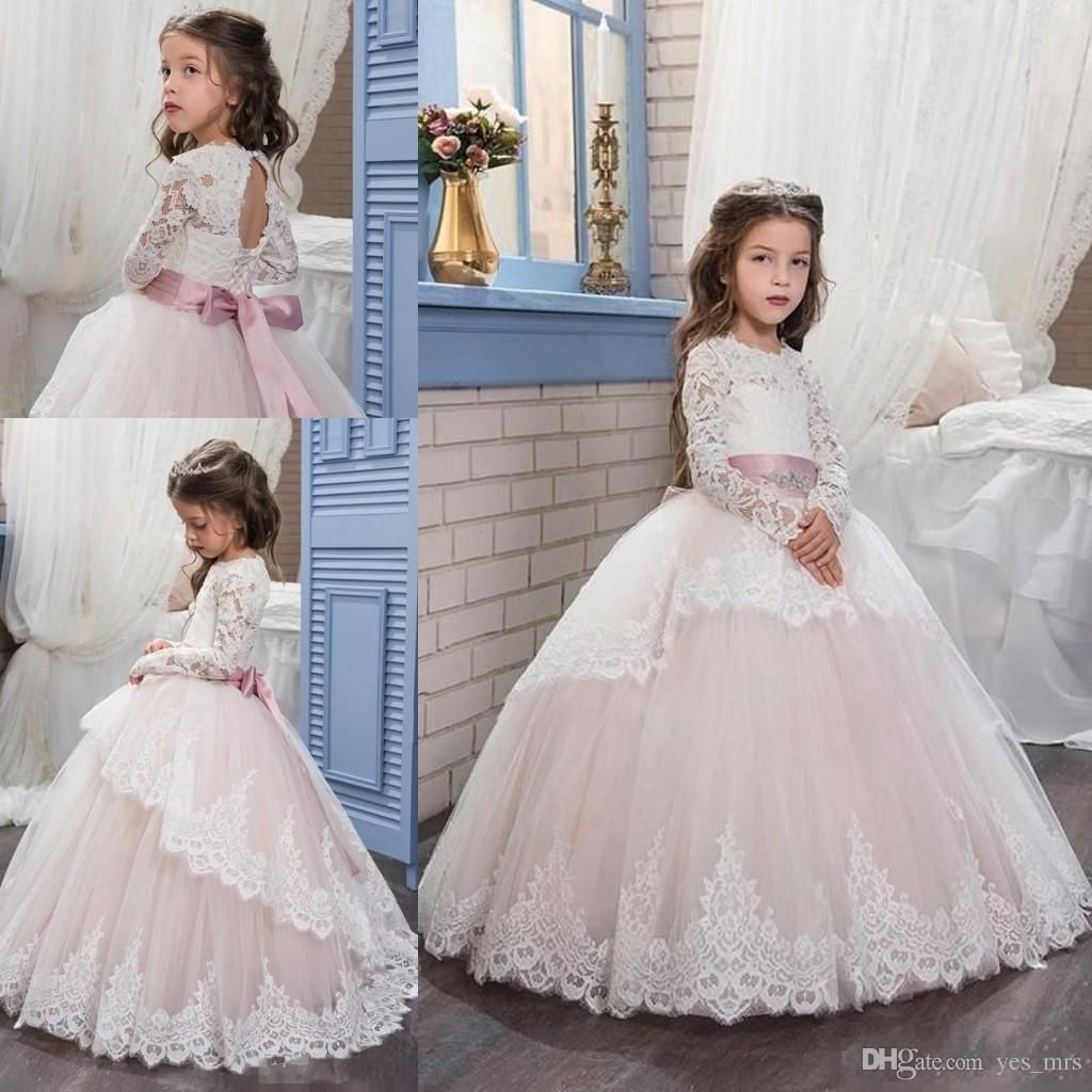 aca3707f36f7 Flower Girls Dresses For Weddings 2017 Pentelei With Long Sleeves ...