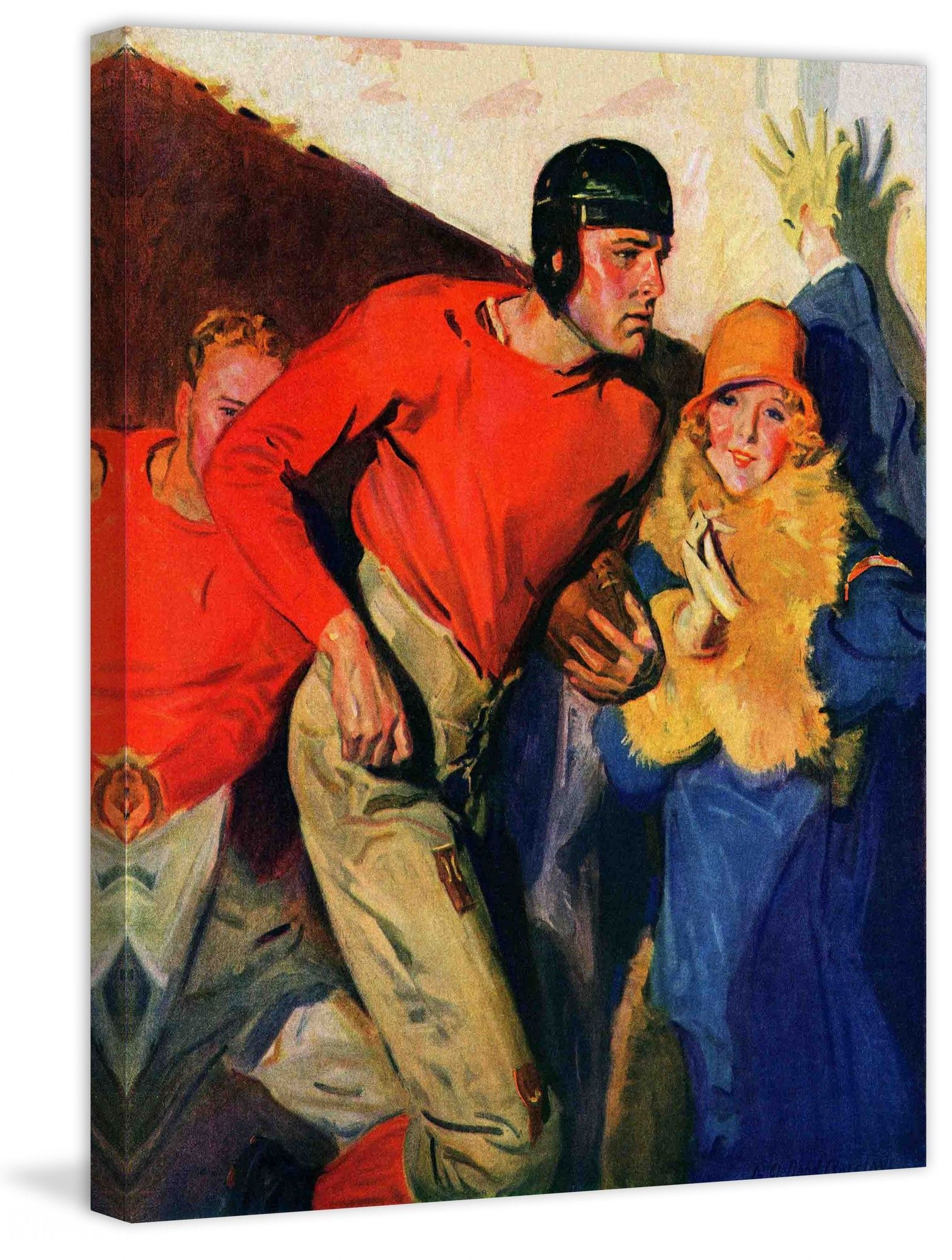 Football Player and Fan by McClelland Barclay Painting Print on Canvas