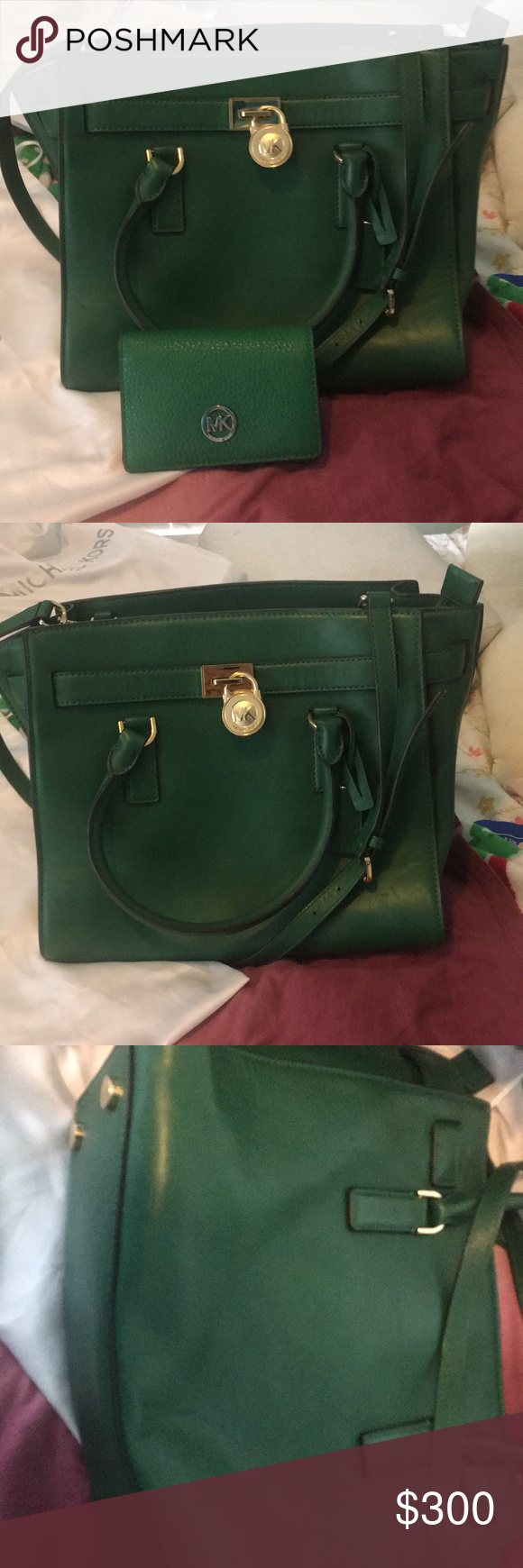 052b39532b4d Emerald green Michael Kors bag and wallet Like new. Comes with dust cover,  but no tags. It's a little bent at the bottom. Use can be seen in photos.