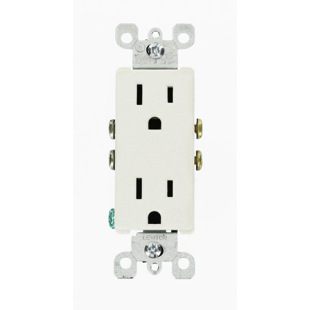 Leviton Decora 15 Amp Duplex Outlet, White (10-Pack) | Outlets ...