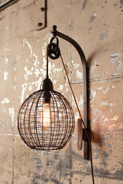 Wire Sphere Wall Sconce With Pulley Idees Pour La Maison Idee