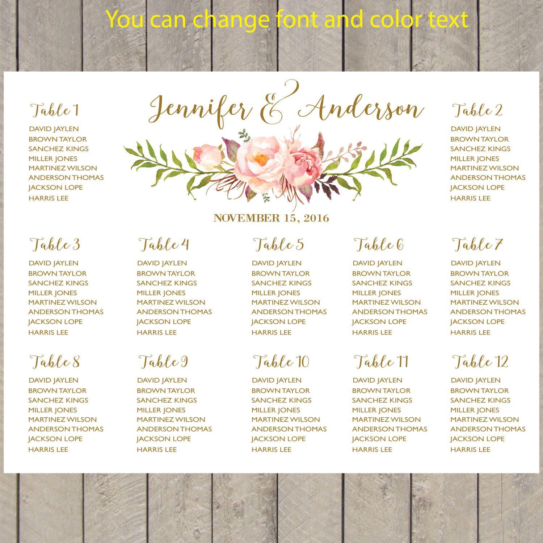 PRINTABLE Wedding Seating Chart TemplateBoho Wedding Table