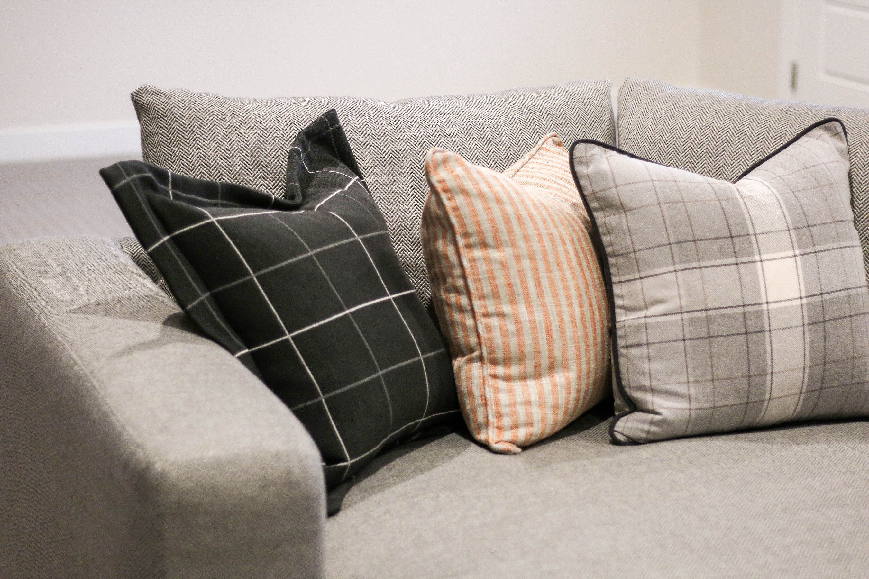Good Modern Farmhouse | Remedy Design Portfolio | Dropback Sofa | Custom Pillows  Plaid