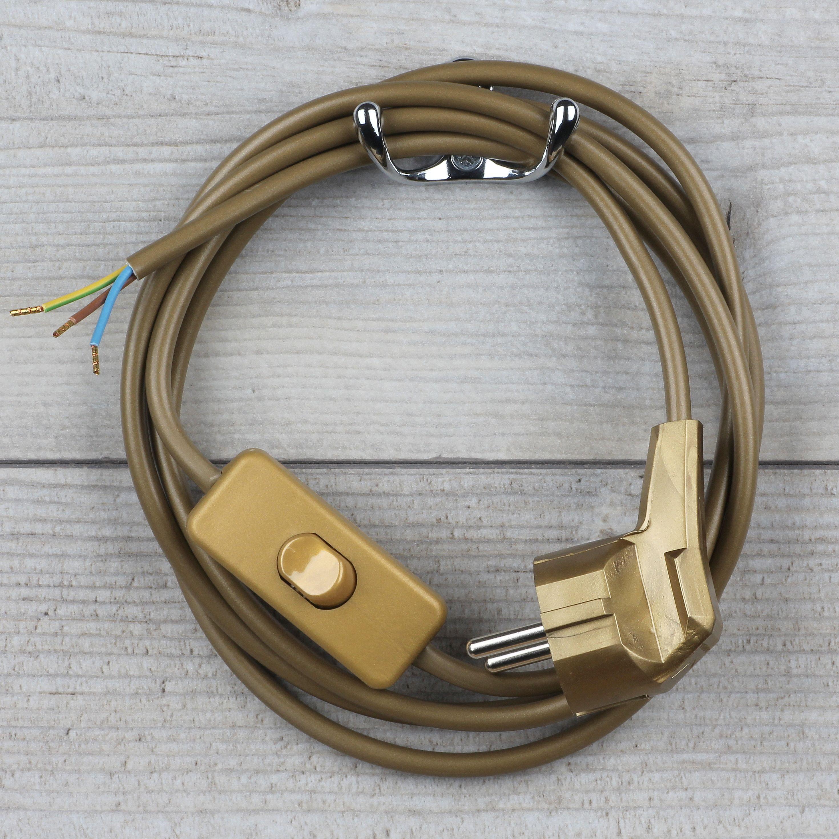 Lampen Anschlussleitung transparent 2 Meter 3-adrig mit Schnurschalter u Stecker