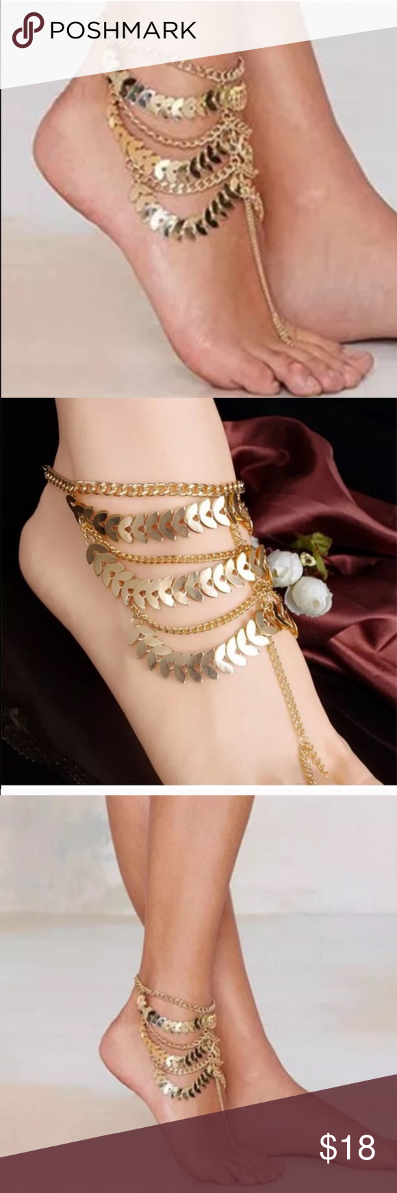 Gold Boho Indie Foot Sandal Swim Jewelry These are so beautiful I have a pair for myself!! I wouldn't recommend this if you wear more than an 8 1/2 shoe size. I can add extenders if needed for $2 for larger sizes💁🏼 PRICE is for PAIR!! Jewelry Bracelets