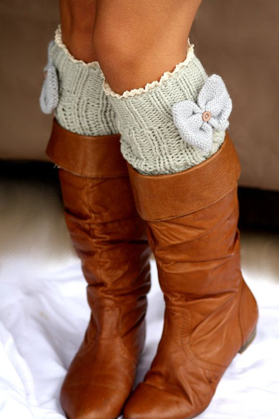 Legwarmers - 100% Cotton, Knee High, Knitted, Gray, Charcoal, Boot ...